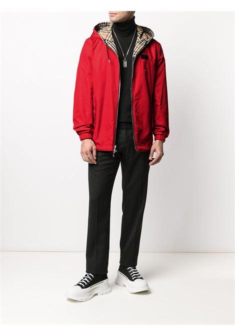 Giacca a vento reversibile rossa, beige e nera con stampa Vintage Check, BURBERRY | Giubbini | 8036894-SHROPSHIREA7028