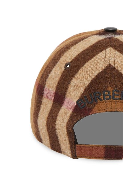 Tan beige and brown lambskin leather and wool Burberry Check baseball cap BURBERRY |  | 8036924-MH BASEBALLA8900