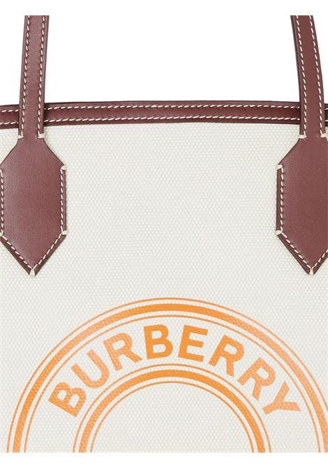 Borsa tote in cotone,lino e pelle bianca e marrone con logo Burberry arancione BURBERRY | Borse tote | 8037378-LL MD SOCIETYA1395