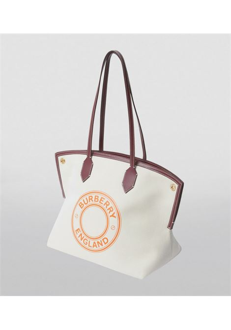 White and brown cotton-linen and leather Burberry logo-print tote bag  BURBERRY |  | 8037378-LL MD SOCIETYA1395