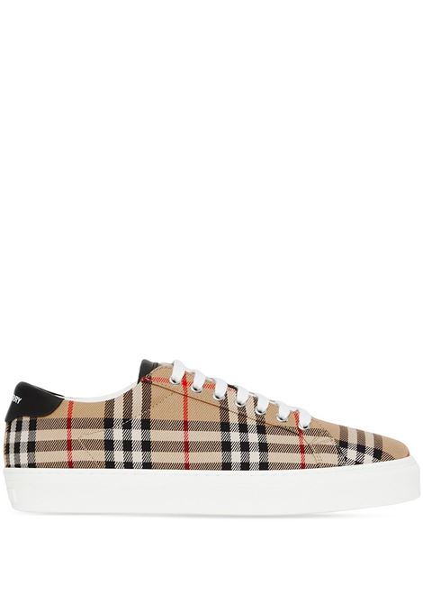 Archive beige cotton and calf leather Vintage Check low-top sneakers BURBERRY |  | 8038185-MF RANGLETONA7026