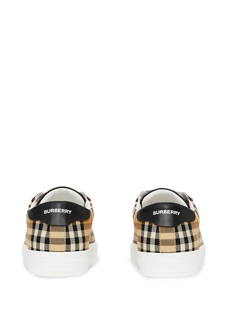 Sneakers basse stampa Vintage Check in cotone e pelle di vitello beige BURBERRY | Sneakers | 8038185-MF RANGLETONA7026