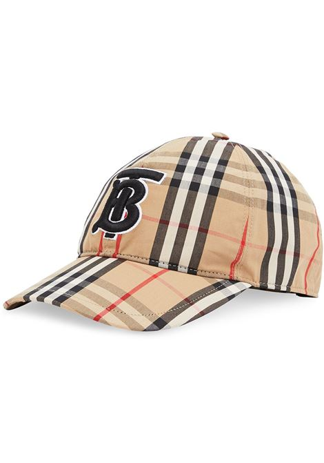 beige cotton cap with black TB embroidered monogram-motif  BURBERRY |  | 8038504-MH TB CHKA7028