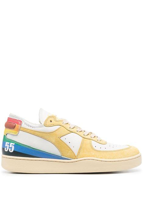 Yellow and multicolour leather Mi Basket Row Cut sneakers featuring colour-block panelled design DIADORA |  | 177640-MI BASKET ROW CUT DENVER 55C1636