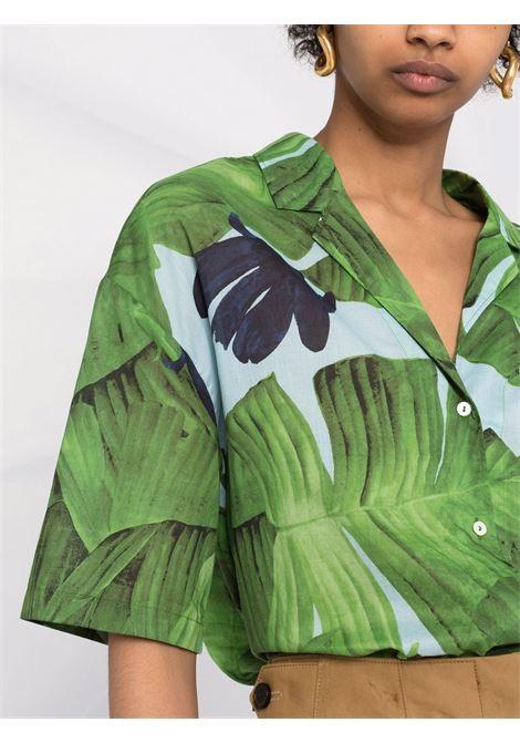 Camicia in cotone di cotone verde foglia con colletto alla cubana DIEGA | Camicie | CAMINA-66042