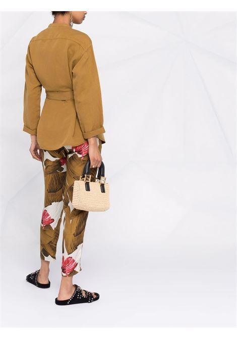 Giacca senza collo in lyocell e lino marrone chiaro DIEGA | Camicie | CHASPA-65001
