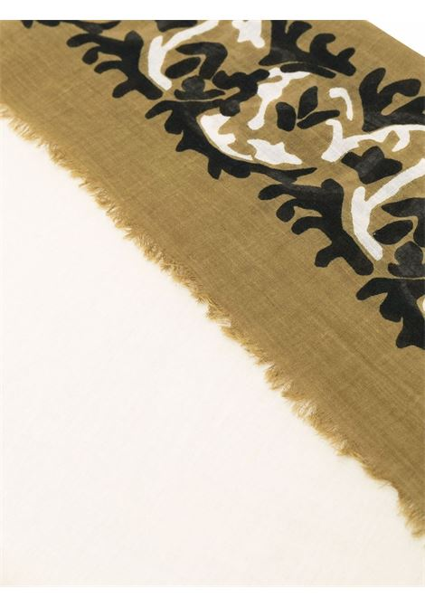 Sciarpa con stampa astratta in cotone panna e verde DIEGA | Sciarpe e foulards | FILGERO-67731