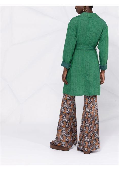 Cappotto Morizio in lino di lino verde con cintura in vita DIEGA   Cappotti   MORIZIO-65121