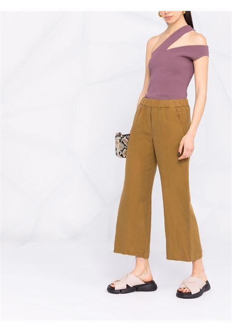 Pantaloni sartoriali cropped in tencel tabacco e lino DIEGA   Pantaloni   PANTERO-65011