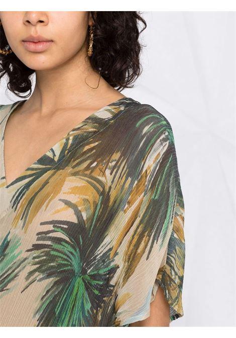 Abito Rina in seta beige e verde con stampa palme DIEGA   Abiti   RINA-65911