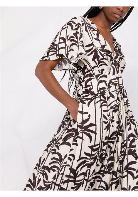 abito in seta Rosiata bianco e nero con stampa palme DIEGA | Abiti | ROSIATA-66182