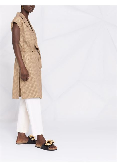 Abito smanicato con cintura Valero in lino e cotone beige DIEGA | Cappotti | VALERO-65411
