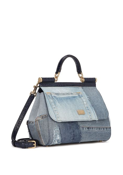 cotton denim and lamb leather Miss Sicily medium tote bag  DOLCE & GABBANA |  | BB6002-AO6218M800