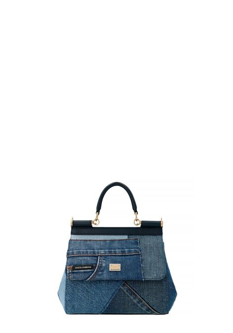 Blue cotton denim and lambskin leather Miss Sicily small tote bag DOLCE & GABBANA |  | BB6003-AO6218M800