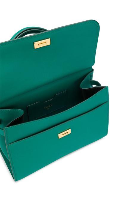 Borsa tote in pelle verde smeraldo con dettagli oro DOLCE & GABBANA | Borse a mano | BB6622-AV3858H544
