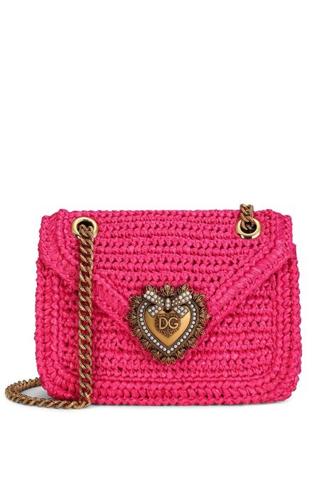 Fuchsia pink raffia and calf leather medium Devotion crochet crossbody bag  DOLCE & GABBANA |  | BB6641-AO4348C463