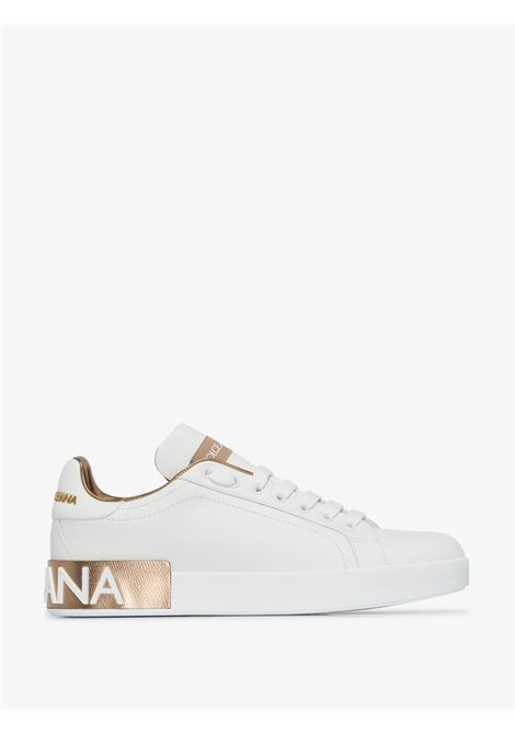 White and gold-tone calf leather Portofino  sneakers  DOLCE & GABBANA |  | CK1544-AX6158L315