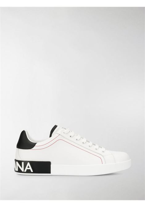 white and black calf leather Portofino sneakers with Dolce & Gabbana lettering logo at the heel  DOLCE & GABBANA |  | CS1760-AH52689697