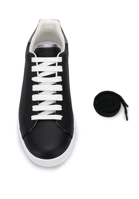 black calf leather Portofino sneakers with Dolce & Gabbana lettering logo at the heel and grey details  DOLCE & GABBANA |  | CS1760-AH5278B979