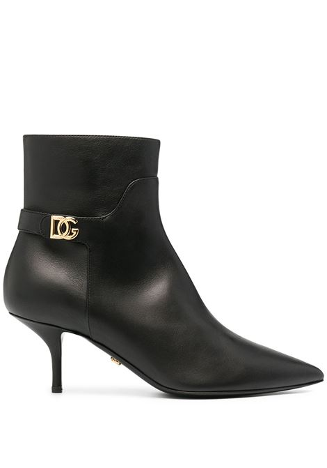 Black calf leather 6cm mid-heel ankle boots featuring gold-tone DG logo plaque DOLCE & GABBANA |  | CT0700-AW69580999