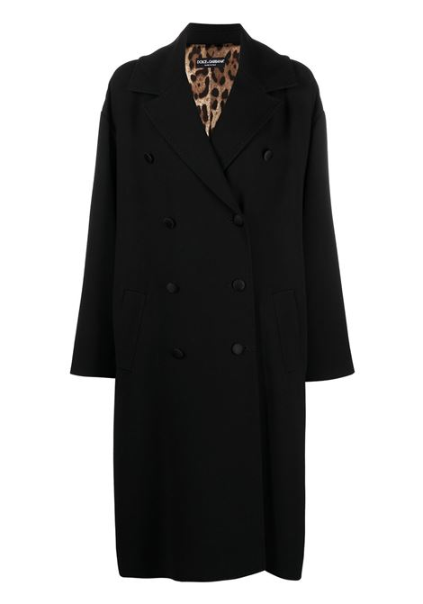 Black virgin wool double-breasted coat featuring wide notch lapels DOLCE & GABBANA |  | F0AF9T-FU3QEN0000