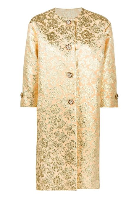 gold tone silk-blend single-breasted jacquard coat featuring half-length sleeves DOLCE & GABBANA |  | F0AG8Z-HJMLBS8354