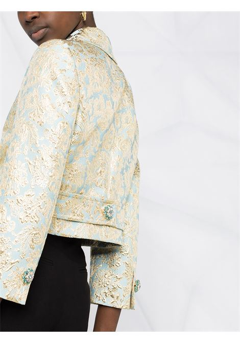 Azure and gold-tone stretch silk jacquard short fitted jacket  DOLCE & GABBANA |  | F26ALZ-HJMLBS8351