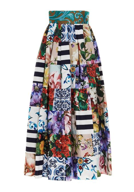 Multicolored cotton patchwork print pleated skirt  featuring high waist DOLCE & GABBANA |  | F4B3YT-GDY03S9000