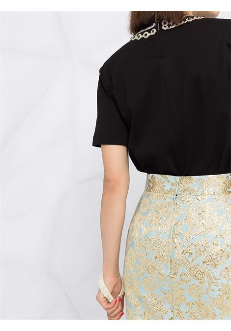 Gold-tone and pale blue silk-blend pencil skirt featuring fleur-de-lis detail DOLCE & GABBANA |  | F4BU8T-HJMLBS8351
