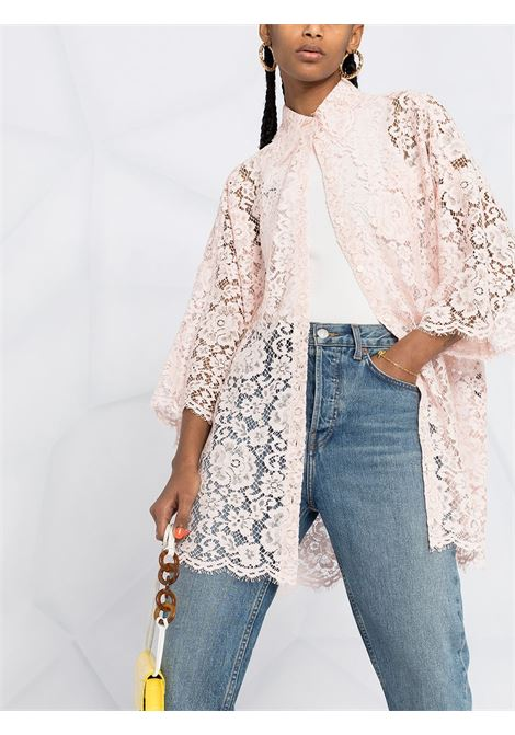 Pink cotton boxy-fit lace blouse featuring classic collar DOLCE & GABBANA |  | F5N68T-HLMEAF3721