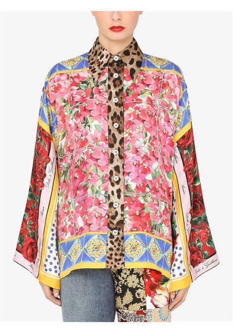 Camicia in seta con stampa patchwork multicolor DOLCE & GABBANA | Camicie | F5O28T-GDY30S9000