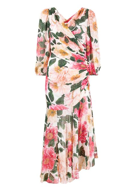 White,pink and green silk-georgette camellia-print asymmetric dress  DOLCE & GABBANA |  | F6I5UT-IS1FKHA2AI