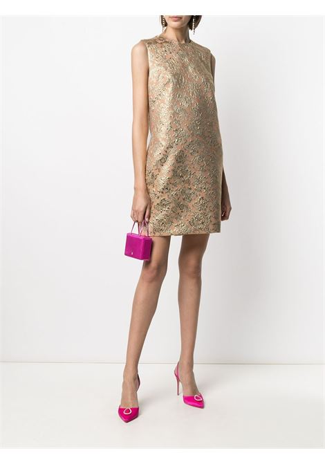 Salmon silk sleveless jacquard shift dress from featuring  metallic effect DOLCE & GABBANA |  | F6K0BT-HJMLBS8354
