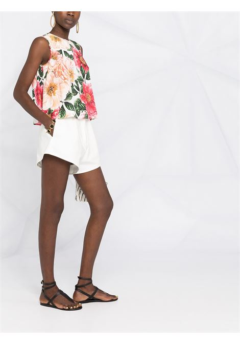 Blusa in chiffon, seta e cotone con inserti in pizzo in stampa florale DOLCE & GABBANA | Camicie | F74J4T-FSRMUHA2AI