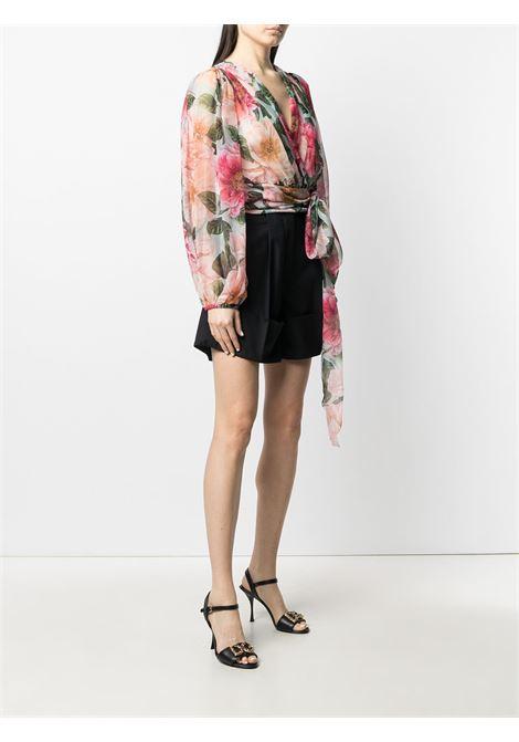 Blusa con stampa floreale in seta rosa con scollo a V DOLCE & GABBANA | Camicie | F74S7T-IS1E4HC2AI