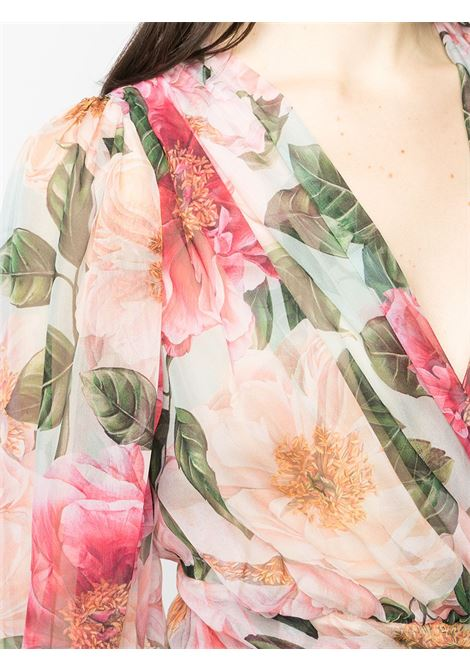 Pink silk floral-print wrap-style blouse  DOLCE & GABBANA |  | F74S7T-IS1E4HC2AI