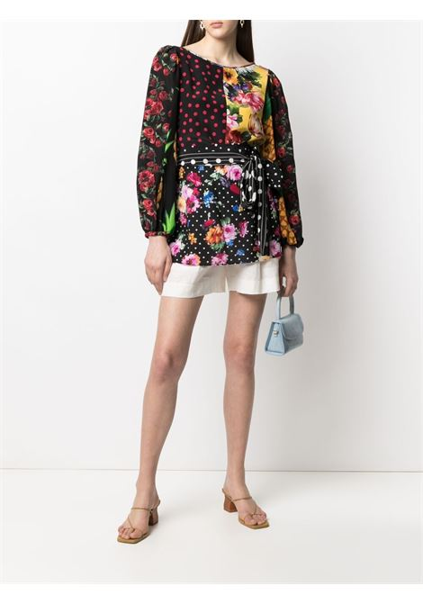Black and multicolour stretch-silk mix-print belted blouse  DOLCE & GABBANA |  | F75E3T-GDY58S9000