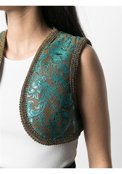 Brown and blue floral-jacquard cropped gilet  DOLCE & GABBANA |  | F79Y8T-HJMHWS8351