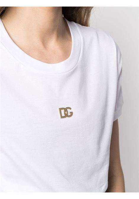 White cotton T-shirt featuring gold DG embroidered lettering DOLCE & GABBANA |  | F8N08Z-FU7EQW0800