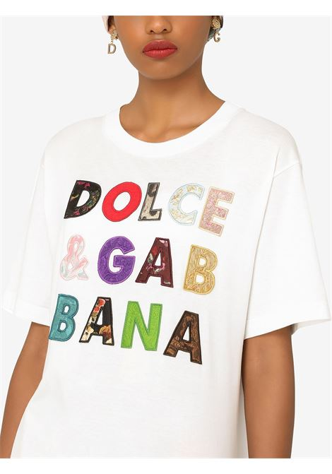 White cotton t.shirt featuring multicolor Dolce & Gabbana embroidered logo lettering DOLCE & GABBANA |  | F8N17Z-G7YMQW0111
