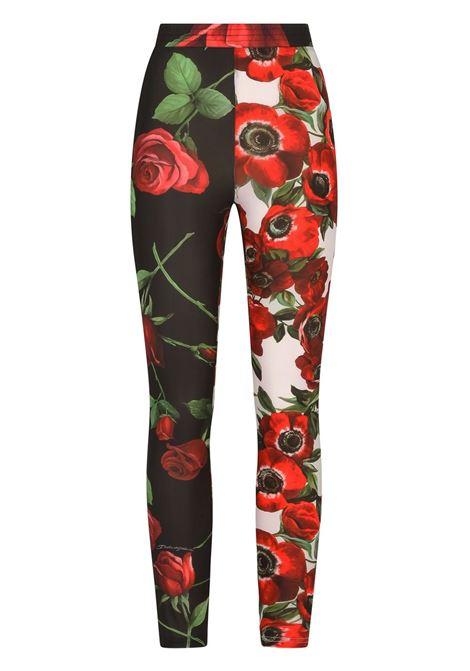 Pantaloni in stampa floreale patchwork multicolore DOLCE & GABBANA | Pantaloni | FTB1IT-GDX85S9000