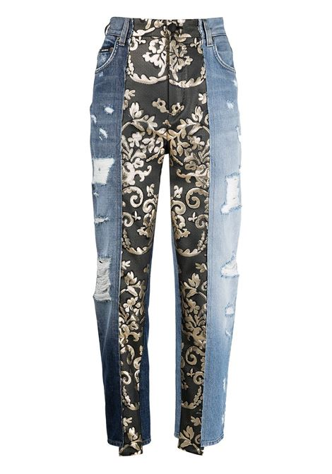 Blue cotton denim jeans with gold and black baroque-panel featuring tapered design DOLCE & GABBANA |  | FTB2ND-G900LS9000