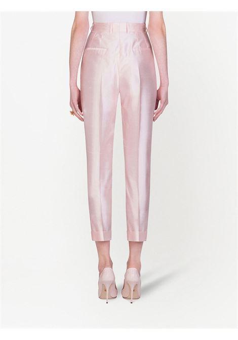 Pantaloni sartoriali a vita alta in seta e organza rosa pallido DOLCE & GABBANA | Pantaloni | FTBQOT-FU1L5F0658
