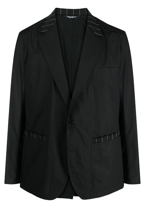 Black cotton virgin wool blend pinstriped details single-breasted blazer  DOLCE & GABBANA |  | G2LW5T-GER01N0000