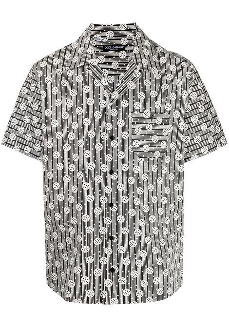 Camicia in cotone a stampa geometrica in cotone bianco e nero con colletto alla francese DOLCE & GABBANA | Camicie | G5FX9T-HS5JAHN2RH