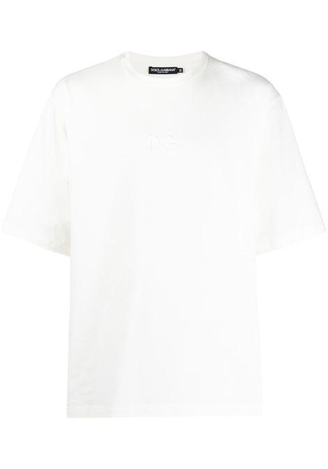 t-shirt jersey cotone giro collo m/m logo dg rilievo davanti DOLCE & GABBANA | T-shirt | G8KA6Z-HU7F0W0001