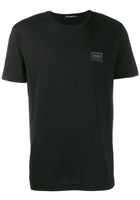 T-shirt comoda in cotone nero con girocollo DOLCE & GABBANA | T-shirt | G8KJ9T-FU7EQN0000