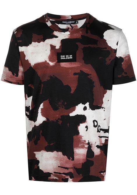 T-shirt in cotone nero e bordeaux con stampa camouflage DOLCE & GABBANA | T-shirt | G8MQ5Z-HS7E6HR2QF