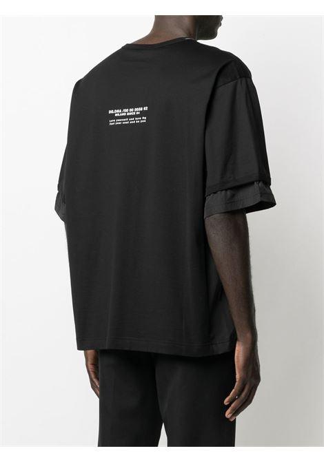t-shirt in cotone nero girocollo a maniche corte con diversi strati DOLCE & GABBANA | T-shirt | G8MV0Z-G7YJRN0000