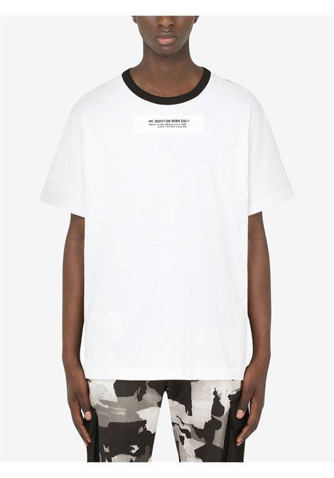 T-shirt cotone bianco nero e grigio con logo Dolce & Gabbana sul davanti e stampa camouflage sul retro DOLCE & GABBANA | T-shirt | G8MW0Z-G7YIUS9000